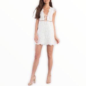 Tobi Sophia Scallop Lace Ivory Shift Dress NWT